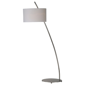 Valencia Floor Lamp - Satin Nickel, Metal, Oval Linen Shade