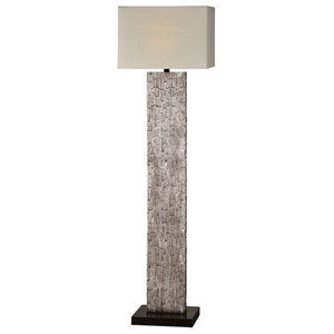 Santa Fe Floor Lamp - Aged Silver Leaf, Off-White Linen Shade
