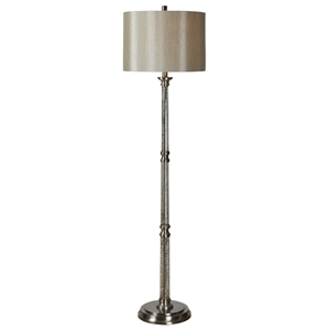 Brooks Floor Lamp - Glass, Satin Nickel Accents