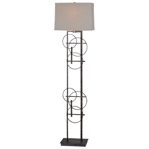 Aria Floor Lamp - Antique Bronze Finish, Hoop Accents