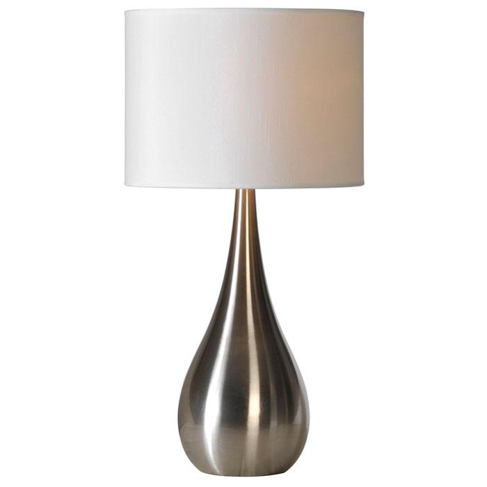 alba teardrop table lamp stainless steel white linen. Black Bedroom Furniture Sets. Home Design Ideas