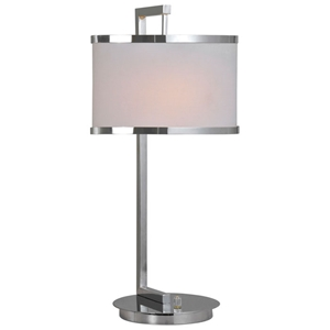 Loxton Table Lamp - Chrome Plated, White Linen Shade