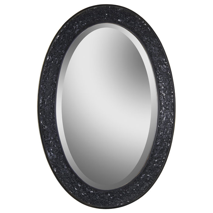 Black Wall Mirrors harmony wall mirror - beveled, oval, black crushed glass frame