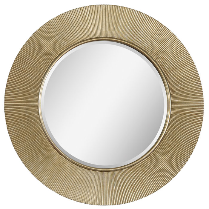 dayton round mirror champagne finish ribbed metal frame dcg stores. Black Bedroom Furniture Sets. Home Design Ideas