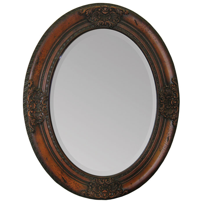 Chelsey mirror oval cherry finish wood frame dcg stores for Cherry wood framed bathroom mirrors