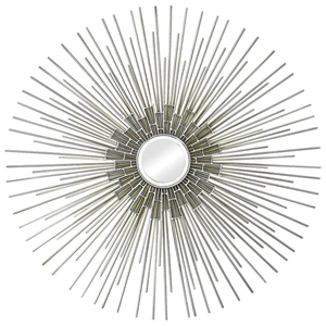 Arizona Wall Art - Silver Leaf, Metal Spokes, Round Mirror