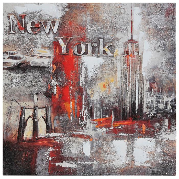 Memories of new york oil painting textured square for What kind of paint to use on kitchen cabinets for textured canvas wall art