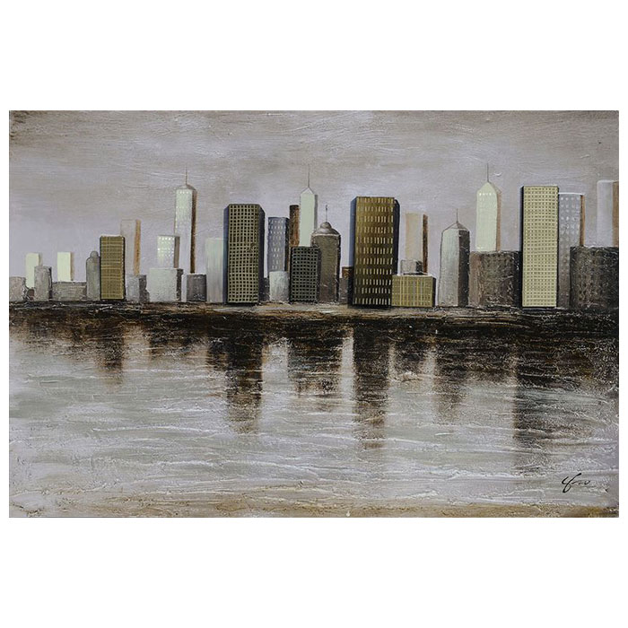 Downtown oil painting rectangular canvas dcg stores for What kind of paint to use on kitchen cabinets for ready to hang canvas wall art