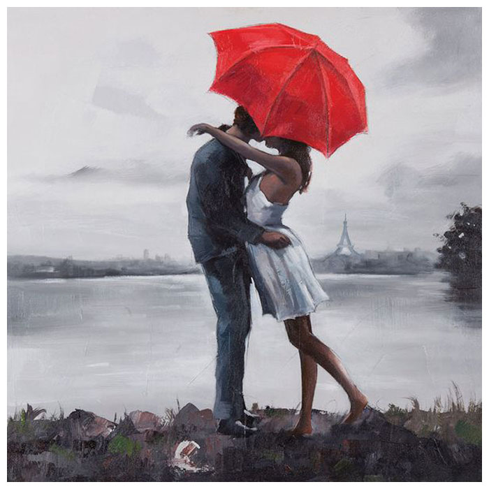 Kissing In The Rain Oil Painting Square Canvas Dcg Stores