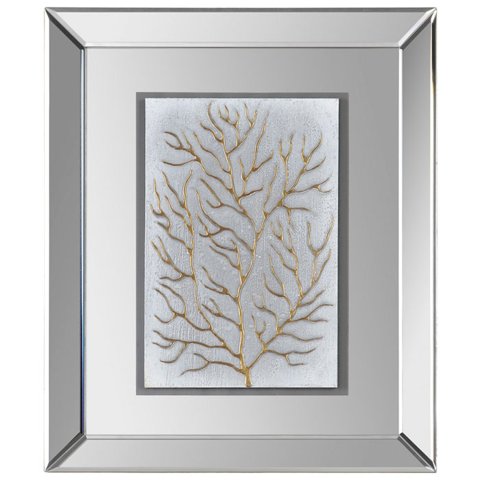 Wall Art With Mirror Frame : Branching out ii wall art mirror frame rectangular