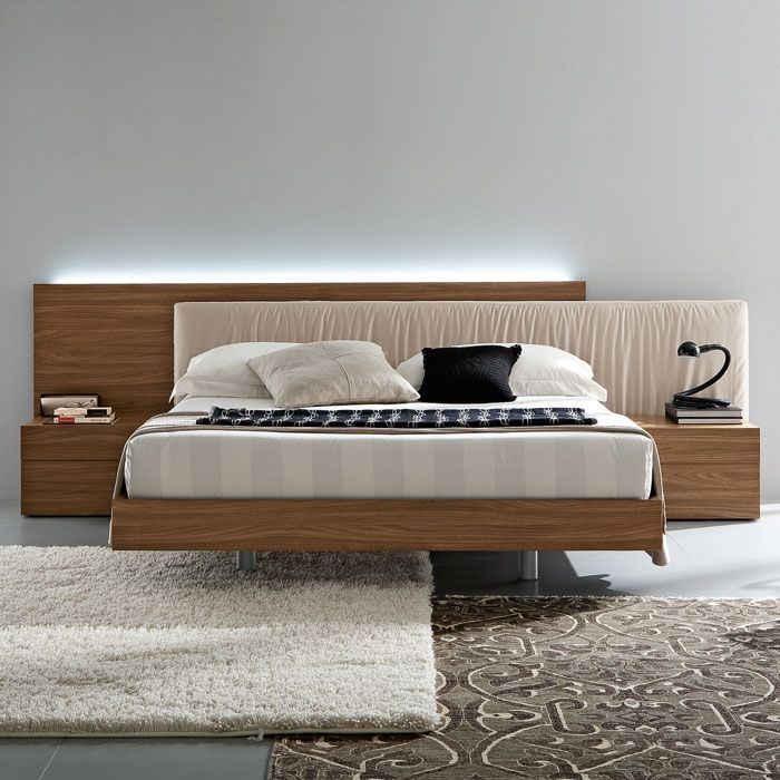... Edge Walnut 4 Piece Bedroom Set   Floating Bed   ROS T4116043X5N29 4PC  ...