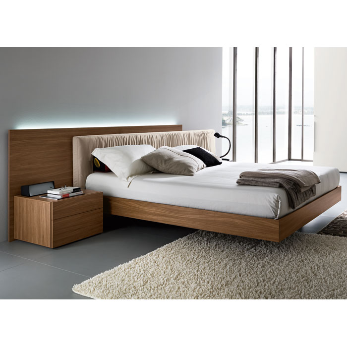 Edge walnut 3 piece bedroom set floating bed dcg stores for Floating bed