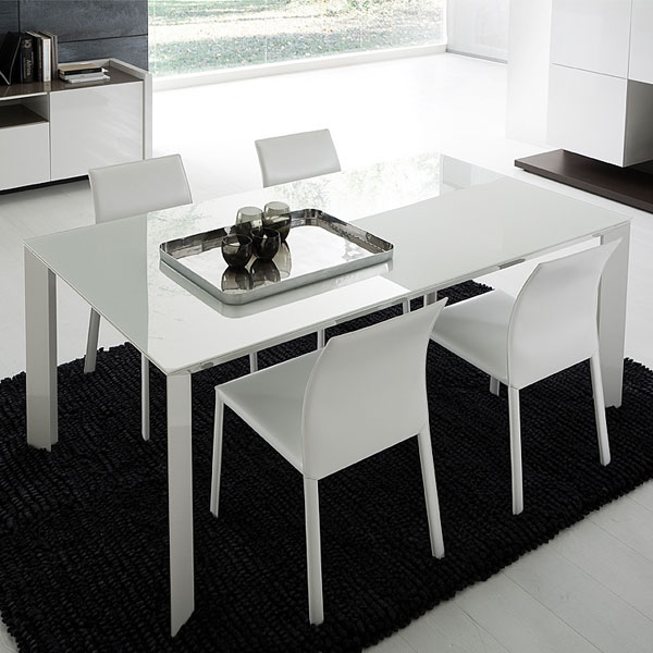 Slide White Extension Rectangle Table With Glass Top Dcg