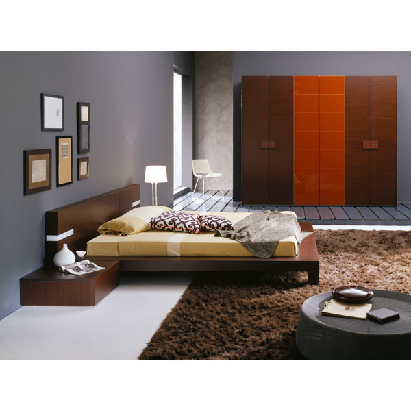 Win 4 Piece Wenge Bedroom Set with Light - ROS-T2666BBAXX206-4S