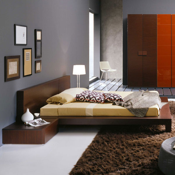 Win Wenge Platform Bed with Nightstands
