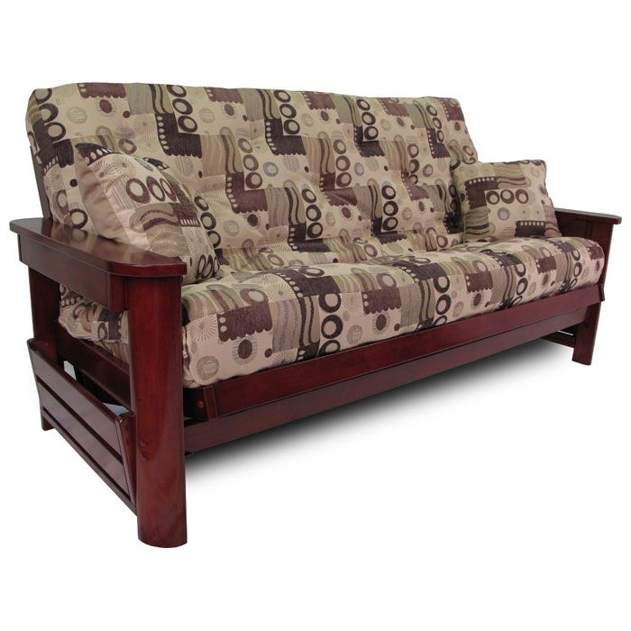 Newport wood futon frame set w designer cover free for Wood futon frames free shipping