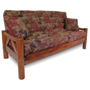 Ponderosa Wood Futon Frame Set w/ Designer Cover & FREE Pillows