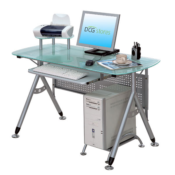 Metal and glass computer desk dcg stores - Metal and glass desks ...