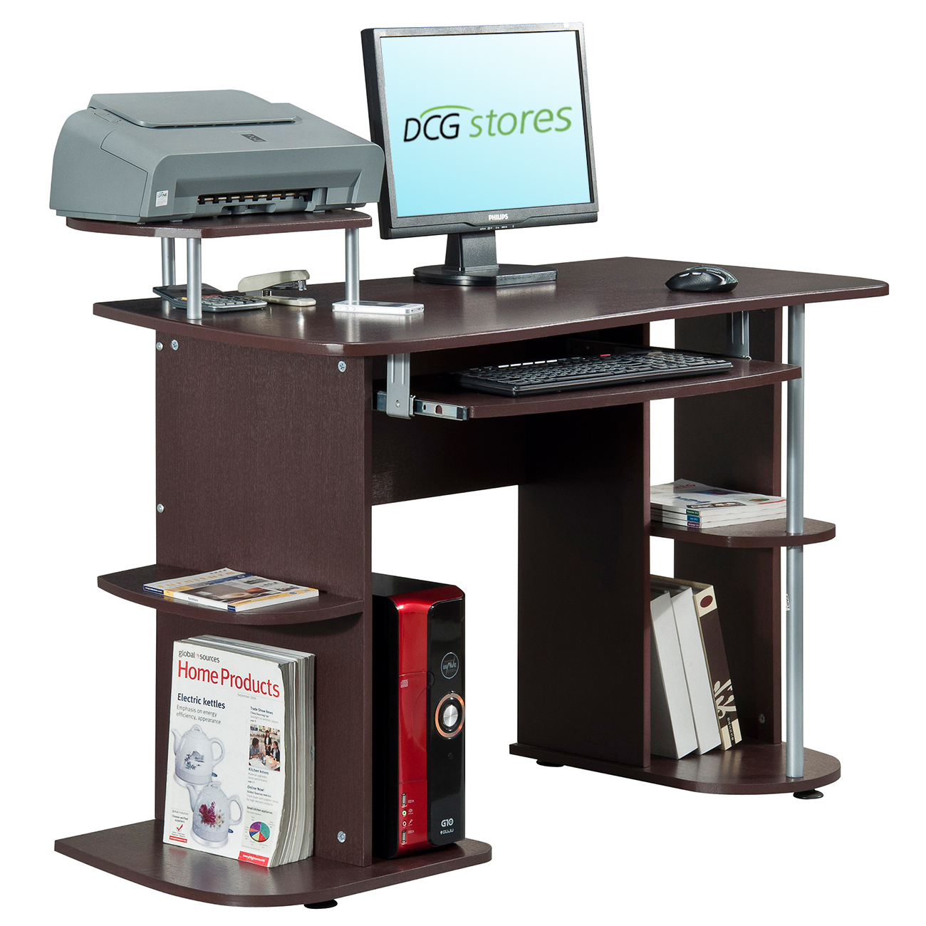 computer desk with elevated printer stand