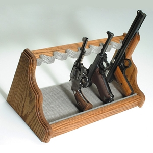 8-Gun Oak Wood Pistol Rack - Velour Fabric