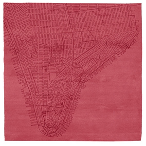 Lower Manhattan No.2 - Light Raspberry Rug