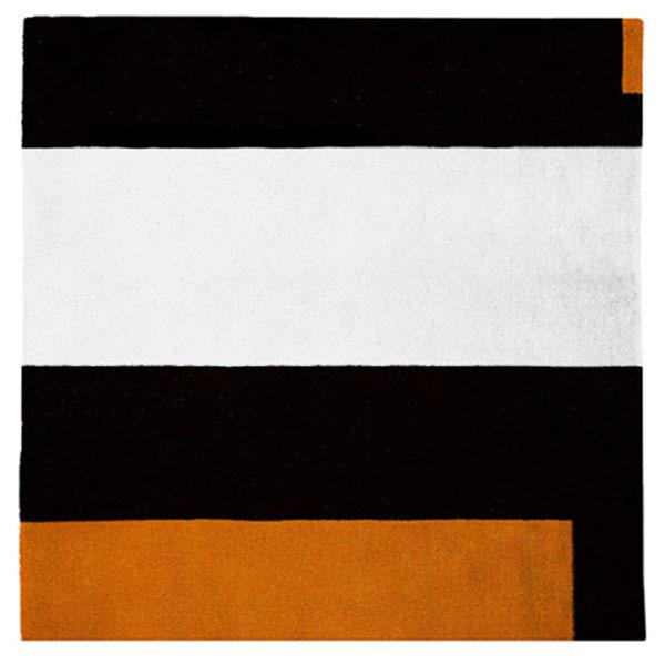 Square Soul Icheon Black White Orange Rug