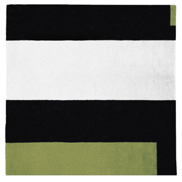 Square Soul Icheon - Black, White & Palm Green Rug