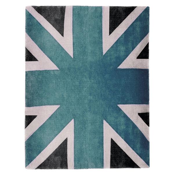 Union Jack Blue White Dark Grey Rug