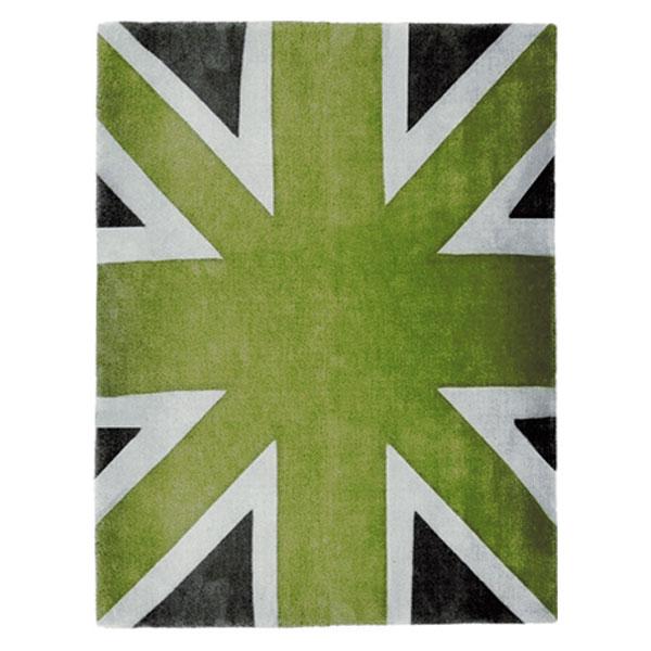 Union Jack Green White Dark Grey Rug