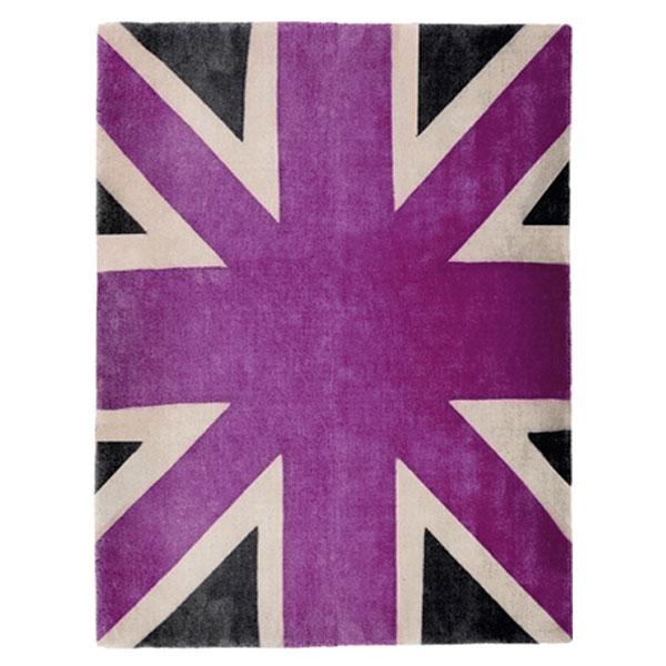Union Jack Purple Beige Amp Dark Grey Rug Dcg Stores