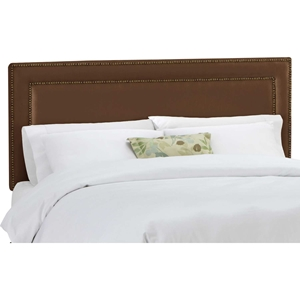 Andromeda Fabric Headboard - Nail Button Border, Chocolate