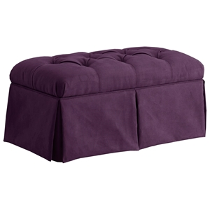 Pyxis Skirted Storage Bench - Velvet, Tufting, Aubergine