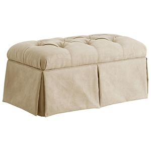 Pyxis Skirted Storage Bench - Velvet, Tufting, Buckwheat