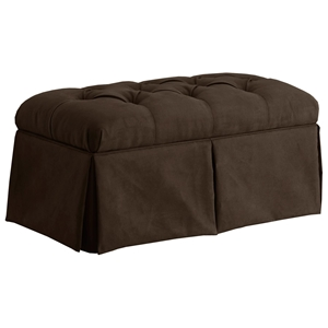 Pyxis Skirted Storage Bench - Velvet, Tufting, Chocolate