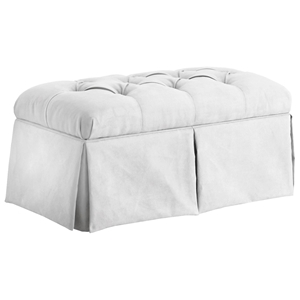 Pyxis Skirted Storage Bench - Velvet, Tufting, White