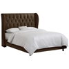Pegasus Wingback Bed - Velvet, Button Tufts, Chocolate - SKY-BEDVCHOC