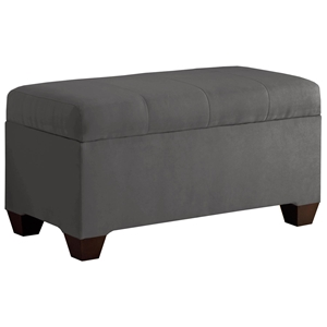Vela Storage Bench - Microsuede, Seams, Charcoal