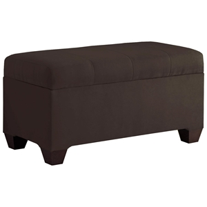 Vela Storage Bench - Microsuede, Seams, Chocolate