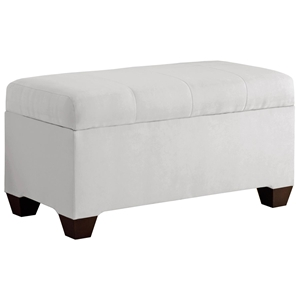 Vela Storage Bench - Microsuede, Seams, White