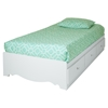 Crystal Twin Mates Bed with Cover and Pillowcase - Pure White - SS-100000