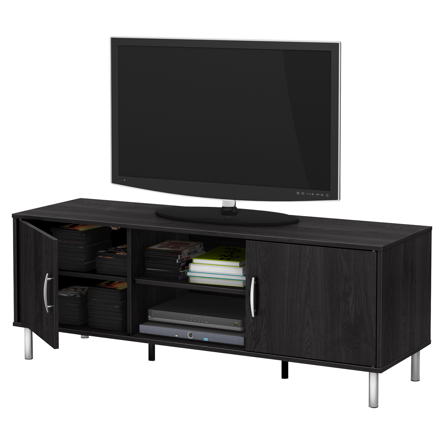 Renta TV Stand - 2 Doors, 2 Shelves, Gray Oak - SS-10001