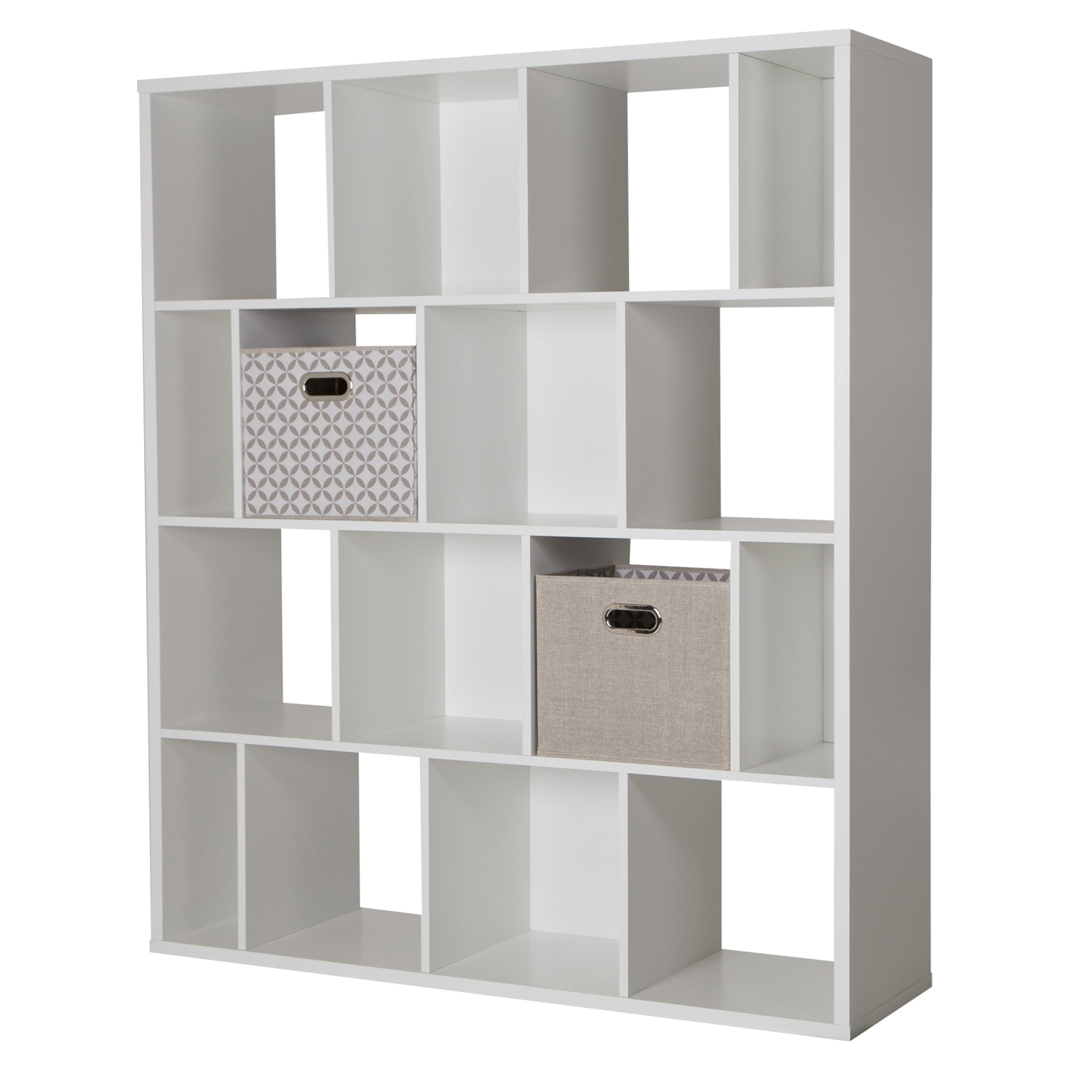 Reveal 16 Cubes Shelving Unit - 2 Fabric Storage Baskets, Pure White - SS-100025