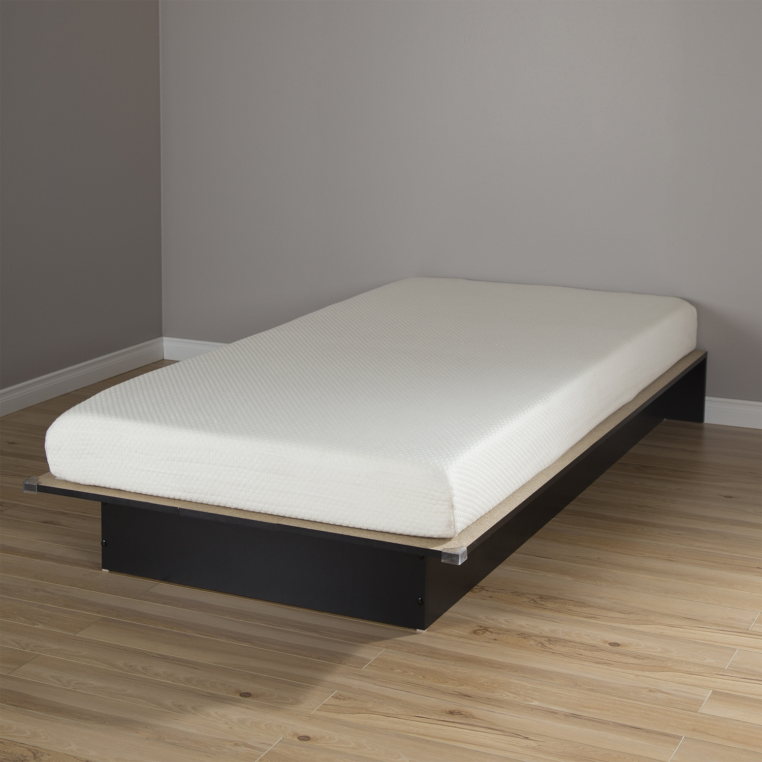 "Libra Twin Platform Bed with 6"" Somea Mattress - Pure Black - SS-100026"