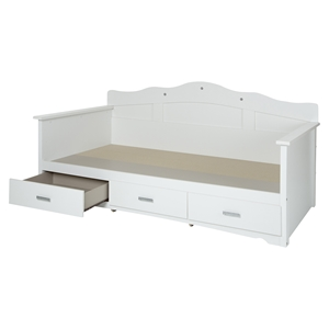 Tiara Twin Daybed - 3 Drawers, Pure White