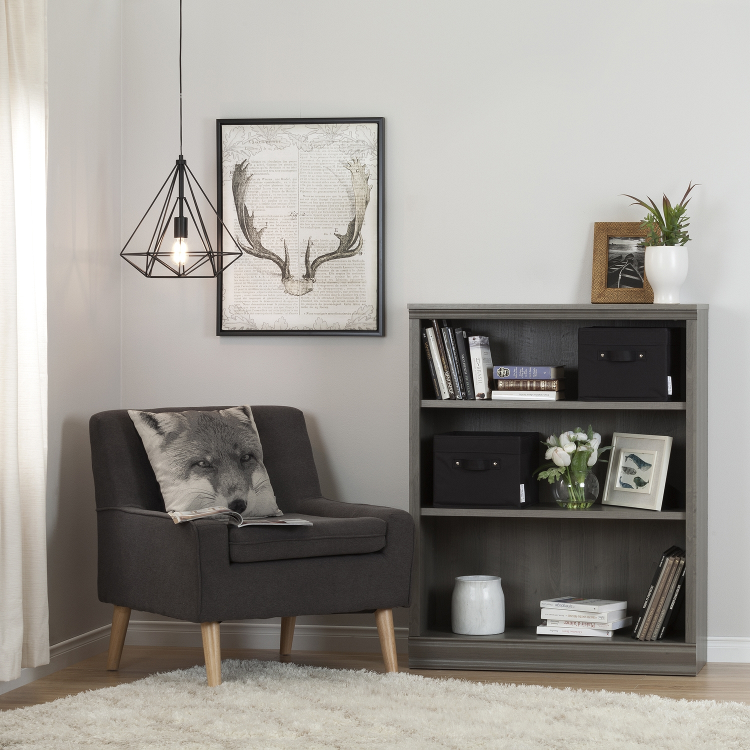 Morgan 3 Shelves Bookcase - 2 Canvas Storage Baskets, Gray Maple - SS-100112