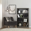 Morgan 4 Shelves Bookcase - 2 Canvas Storage Baskets, Gray Maple - SS-100113