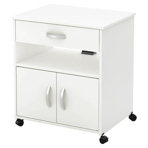 Axess Microwave Cart - Wheels, Pure White