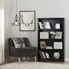 Morgan Bookcase - 4 Shelves, 2 Canvas Storage Baskets, Black Oak - SS-100125