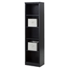 Morgan Narrow Bookcase - 5 Shelves, 2 Canvas Storage Baskets, Black Oak - SS-100126