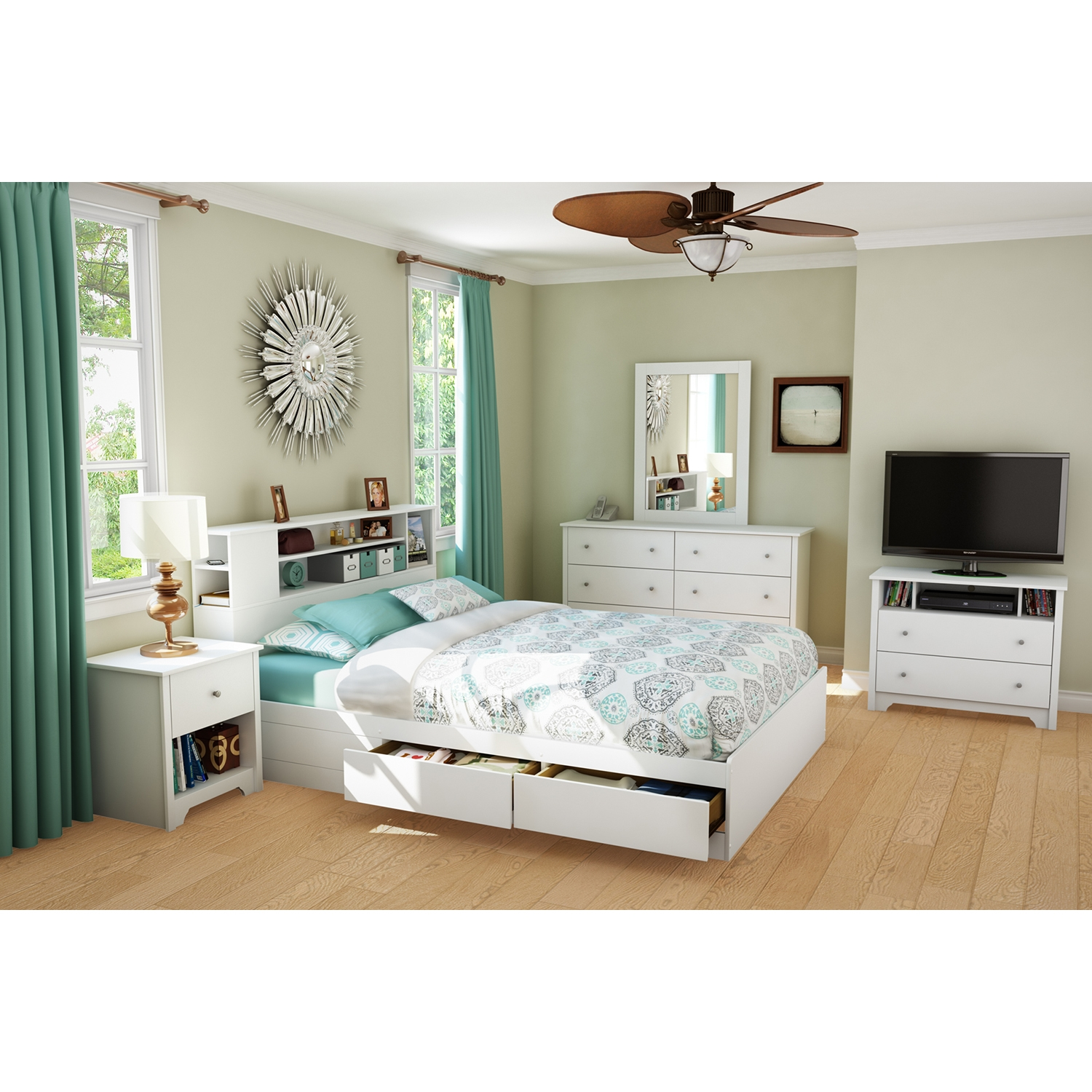 Vito Queen Mates Bed - 2 Drawers, Bookcase Headboard, Pure White - SS-10036